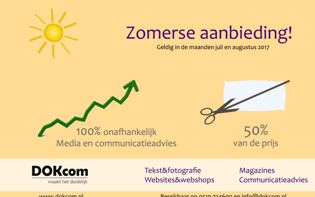 Zomeraanbieding media- en communicatieadvies